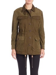 Burberry Spearsdale Leather Trimmed Jacket Olive