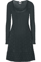 M Missoni Crochet Knit Wool Blend Dress Gray