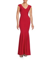 Betsy And Adam Knit Trumpet Gown Red