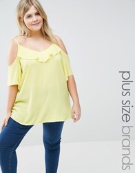 New Look Plus Ruffle Cold Shoulder Top Yellow