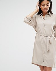 Love Long Sleeve Belted Shirt Dress Taupe Brown