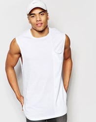Asos Longline Sleeveless T Shirt In Relaxed Fit With Drape Pocket And Raw Edge White