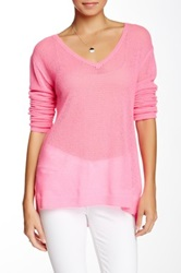 Velvet By Graham And Spencer Honeycomb Knit V Neck Cashmere Sweater Pink