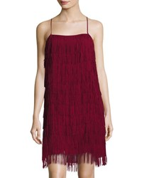 Chetta B Plus Fringe Sleeveless Party Dress Burgundy