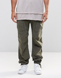 Asos Straight Trousers With Cargo Pockets And Rip And Repair Details In Khaki Khaki Green