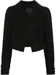Paige Cropped Fringed Jacket Black