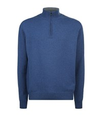 Corneliani Zip Knit Sweater Male Denim