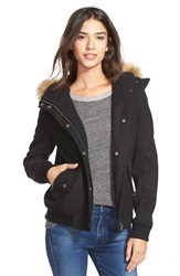 Levi's Hooded Bomber Jacket With Faux Fur And Faux Shearling Trim Black