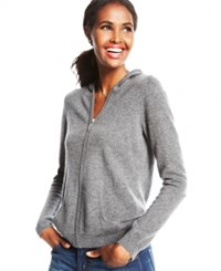 Charter Club Cashmere Zip Front Hoodie In 11 Colors Only At Macy's Heather Crystal