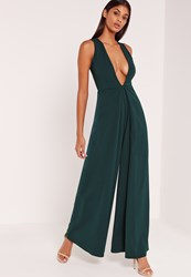 Missguided Crepe Origami Detail Jumpsuit Green
