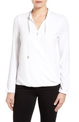 Michael Michael Kors Women's Crossover Woven Front Top White
