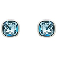 Finesse Cushion Glass Crystal Stud Earrings Silver Blue