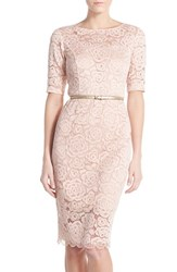 Women's Ellen Tracy Belted Lace Sheath Dress Blush