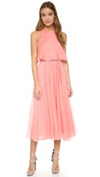 Halston Pleated Maxi Dress Parfait Pink