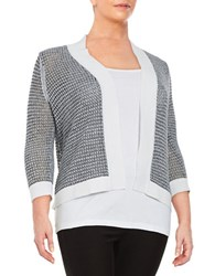 Nipon Boutique Plus Open Front Knit Cardigan New White Grey