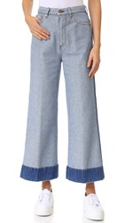 Cedric Charlier Cropped Wide Leg Jeans Blue