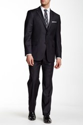 Hickey Freeman Charcoal Wool Suit Gray