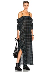 R 13 R13 Apron Dress In Green Checkered And Plaid Green Checkered And Plaid