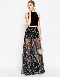 Asos Sheer Maxi Skirt With Flocked Flowers Black