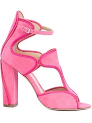 Monique Lhuillier Buckled Chunky High Heel Sandals Pink And Purple