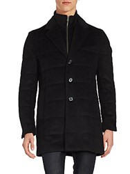 Saks Fifth Avenue Quilted Wool Blend Coat Black