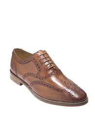 Cole Haan Cambridge Leather Wingtip Oxfords British Tan