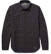 Burberry Quilted Melange Cotton And Wool Blend Jacket Black