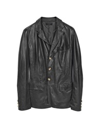 Forzieri Black Leather 3 Button Blazer