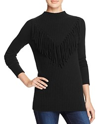 Aqua Cashmere Mitered Fringe Cashmere Sweater Black