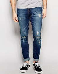 Pull And Bear Pullandbear Super Skinny Jeans With Rips In Mid Wash Blue Med.Blue