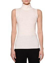Callens Multi Rib Sleeveless Turtleneck Sweater Warm White
