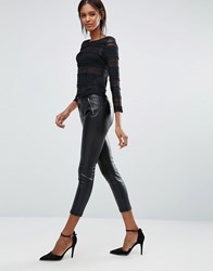 Goldie If Looks Could Kill High Waisted Faux Leather Trousers Black