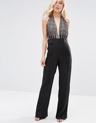 Forever Unique Dixie Jumpsuit With Lace Halterneck Top Black