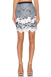 Greylin Aster Lace Pencil Skirt Blue