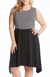 Plus Size Women's Karen Kane Diamond Jacquard And Matte Jersey Handkerchief Hem Dress Black White