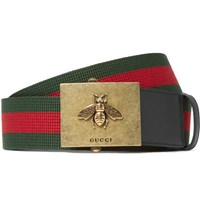 Gucci 4Cm Leather Trimmed Striped Canvas Belt Green