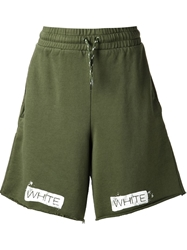 Off White Stripes Detail Track Shorts Green