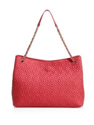 Tory Burch Marion Quilted Center Zip Leather Tote Dark Peony
