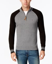 Tommy Hilfiger Men's Colorblocked Quarter Zip Sweater Charcoal
