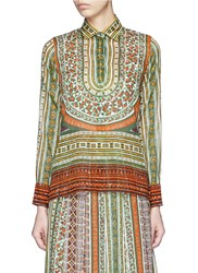 Valentino Tribal Ribbon Print Cotton Shirt Multi Colour