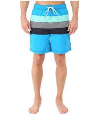 Nautica Stripe Color Block Trunk Star Turquoise Men's Swimwear Blue