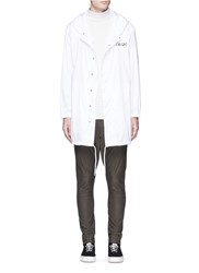 Studio Seven Script Print Hooded Coach Jacket White