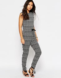 Glamorous Tie Waist Jumpsuit In Tribal Print Blk Cream Tribal Black