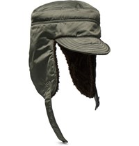 Junya Watanabe Fleece Lined Satin Trapper Hat Army Green