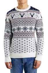 Topman Holiday Reindeer Jacquard Crewneck Sweater White