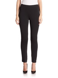 St. John Milano Leather Trimmed Wool Rayon Leggings Black