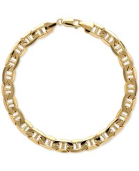 Macy's Men's Beveled Marine Link Bracelet In 10K Gold Yellow Gold