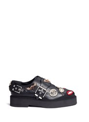 Alexander Mcqueen Mixed Obsession Charm Leather Monk Strap Shoes Black