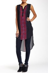 Daniel Rainn Split Neck Tunic Tank Black