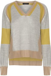 Belstaff Holmes Paneled Silk Sweater Gray